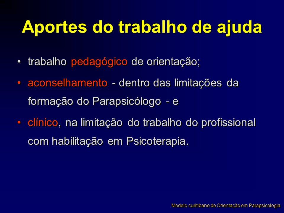 •trabalho pedagógico de orientação; •aconselhamento - dentro das limitações da formação do Parapsicólogo - e •clínico, na limitação do trabalho do pro