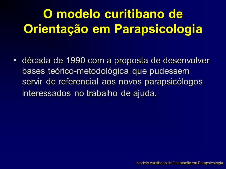 O modelo curitibano de Orientação em Parapsicologia •década de 1990 com a proposta de desenvolver bases teórico-metodológica que pudessem servir de re