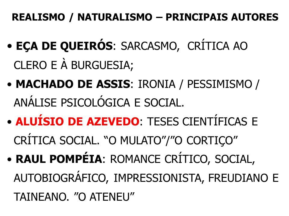 REALISMO / NATURALISMO – PRINCIPAIS AUTORES • EÇA DE QUEIRÓS: SARCASMO, CRÍTICA AO CLERO E À BURGUESIA; • MACHADO DE ASSIS: IRONIA / PESSIMISMO / ANÁLISE PSICOLÓGICA E SOCIAL.