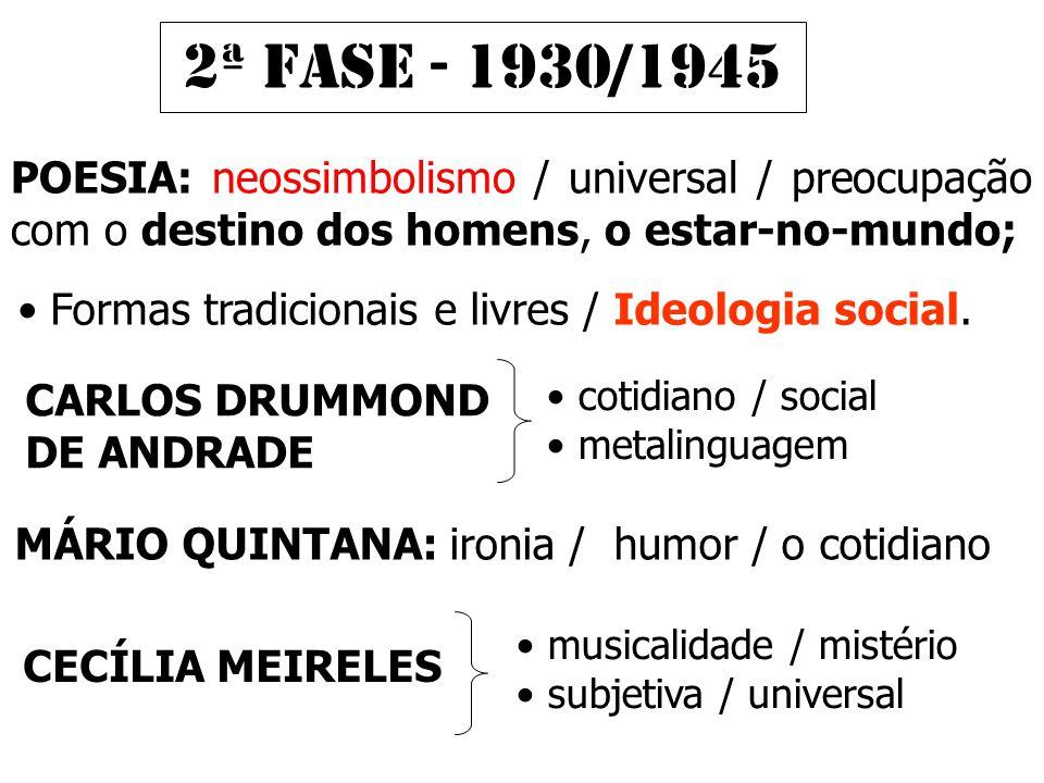 POESIA: neossimbolismo / universal / preocupação com o destino dos homens, o estar-no-mundo; 2ª FASE - 1930/1945 • Formas tradicionais e livres / Ideologia social.