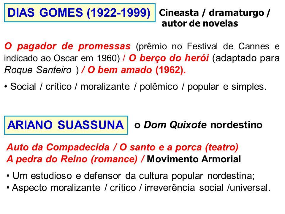 DIAS GOMES (1922-1999) O pagador de promessas (prêmio no Festival de Cannes e indicado ao Oscar em 1960) / O berço do herói (adaptado para Roque Santeiro ) / O bem amado (1962).