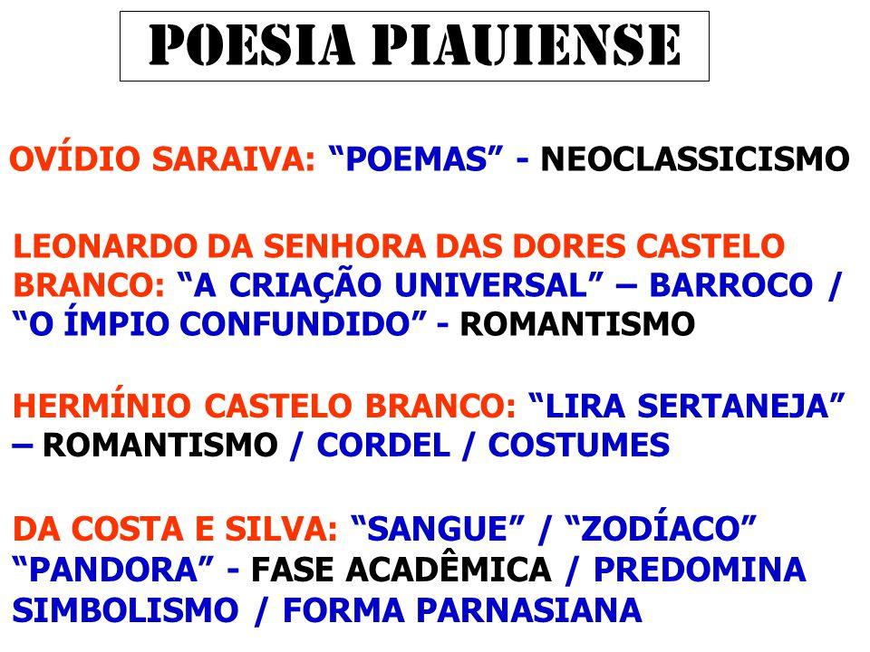 POESIA PIAUIENSE OVÍDIO SARAIVA: POEMAS - NEOCLASSICISMO LEONARDO DA SENHORA DAS DORES CASTELO BRANCO: A CRIAÇÃO UNIVERSAL – BARROCO / O ÍMPIO CONFUNDIDO - ROMANTISMO DA COSTA E SILVA: SANGUE / ZODÍACO PANDORA - FASE ACADÊMICA / PREDOMINA SIMBOLISMO / FORMA PARNASIANA HERMÍNIO CASTELO BRANCO: LIRA SERTANEJA – ROMANTISMO / CORDEL / COSTUMES
