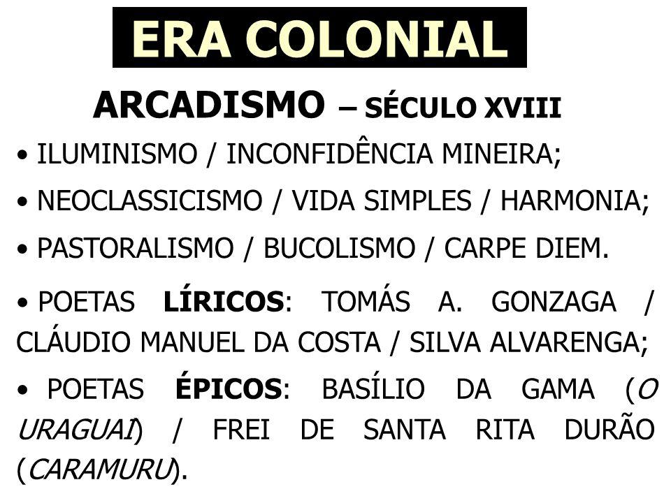 ROMANTISMO – SÉCULO XIX ERA NACIONAL • INDEPENDÊNCIA DO BRASIL / NACIONALISMO; • INDIANISMO / LINGUAGEM COLOQUIAL; • SUBJETIVIDADE / EGOCENTRISMO / MORTE; • ANTICLÁSSICO / TRISTEZA / MELANCOLIA; • IMAGINAÇÃO / SONHO / IDEALIZAÇÃO; • POESIA INDIANISTA-NACIONALISTA / POESIA DO MAL-DO-SÉCULO / POESIA CONDOREIRA.