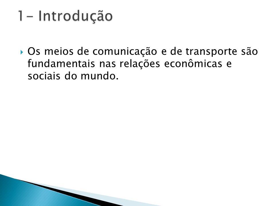  Os meios de comunicação e de transporte são fundamentais nas relações econômicas e sociais do mundo.