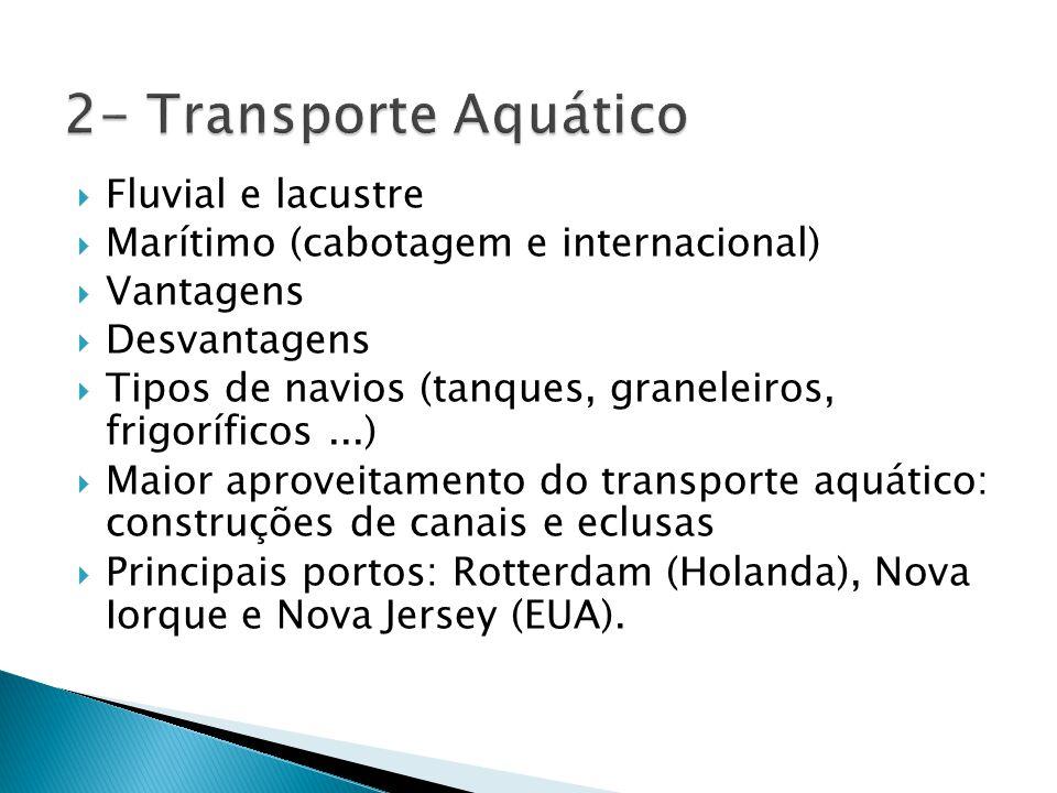  Fluvial e lacustre  Marítimo (cabotagem e internacional)  Vantagens  Desvantagens  Tipos de navios (tanques, graneleiros, frigoríficos...)  Mai