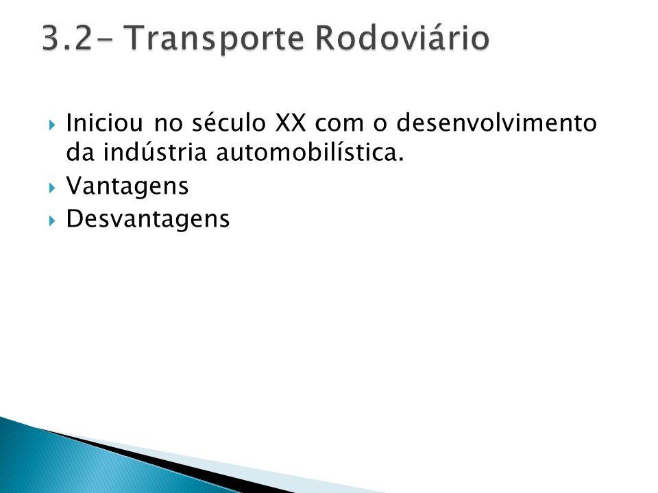  Iniciou no século XX com o desenvolvimento da indústria automobilística.  Vantagens  Desvantagens