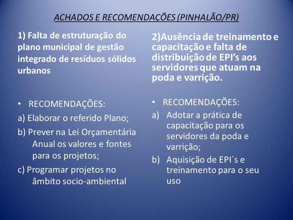 ACHADOS E RECOMENDAÇÕES (PINHALÃO/PR) 1) Falta de estruturação do plano municipal de gestão integrado de resíduos sólidos urbanos • RECOMENDAÇÕES: a)