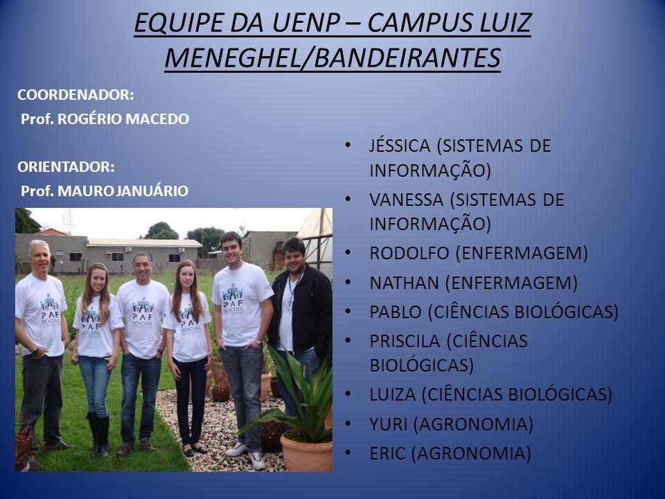 EQUIPE DA UENP – CAMPUS LUIZ MENEGHEL/BANDEIRANTES COORDENADOR: Prof.