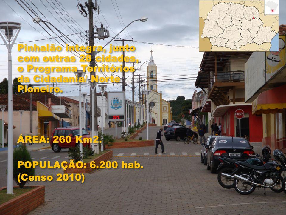 Pinhalão integra, junto com outras 28 cidades, o Programa Territórios da Cidadania/ Norte Pioneiro. ÁREA: 260 Km2. POPULAÇÃO: 6.200 hab. (Censo 2010)