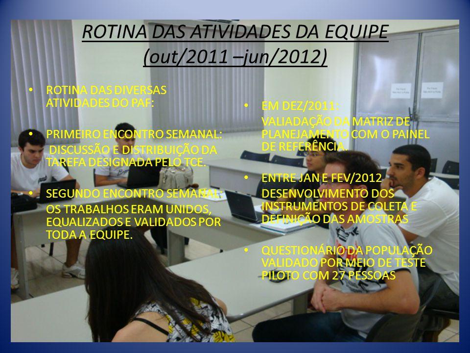 ROTINA DAS ATIVIDADES DA EQUIPE (out/2011 –jun/2012) • ROTINA DAS DIVERSAS ATIVIDADES DO PAF: • PRIMEIRO ENCONTRO SEMANAL: DISCUSSÃO E DISTRIBUIÇÃO DA TAREFA DESIGNADA PELO TCE.