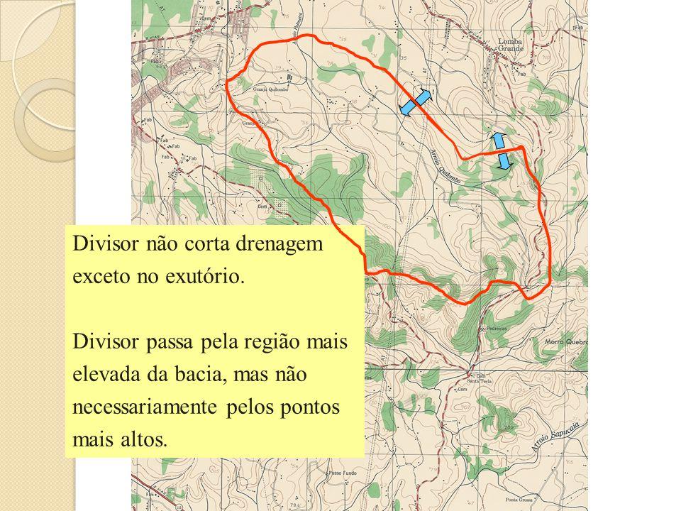 Divisor não corta drenagem exceto no exutório. Divisor passa pela região mais elevada da bacia, mas não necessariamente pelos pontos mais altos.