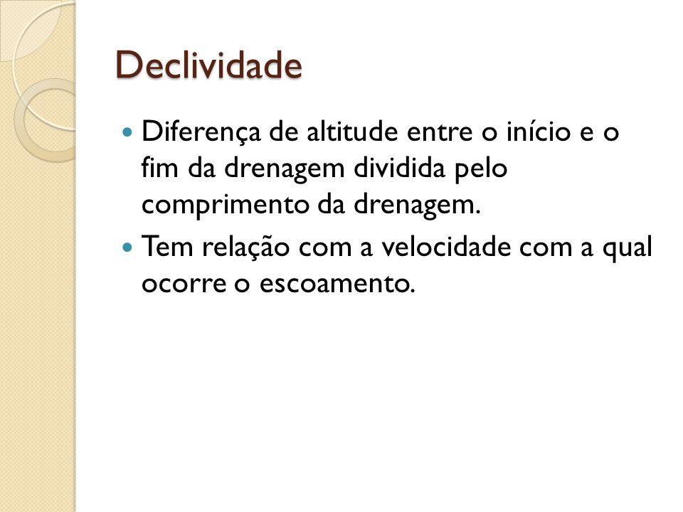 Declividade  Diferença de altitude entre o início e o fim da drenagem dividida pelo comprimento da drenagem.  Tem relação com a velocidade com a qua