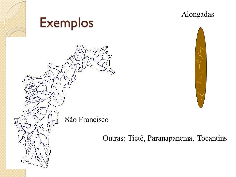 Exemplos Alongadas São Francisco Outras: Tietê, Paranapanema, Tocantins