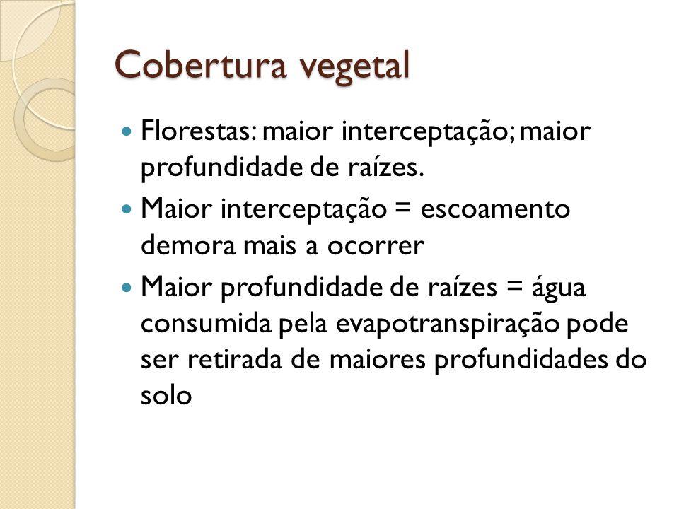 Cobertura vegetal  Florestas: maior interceptação; maior profundidade de raízes.  Maior interceptação = escoamento demora mais a ocorrer  Maior pro