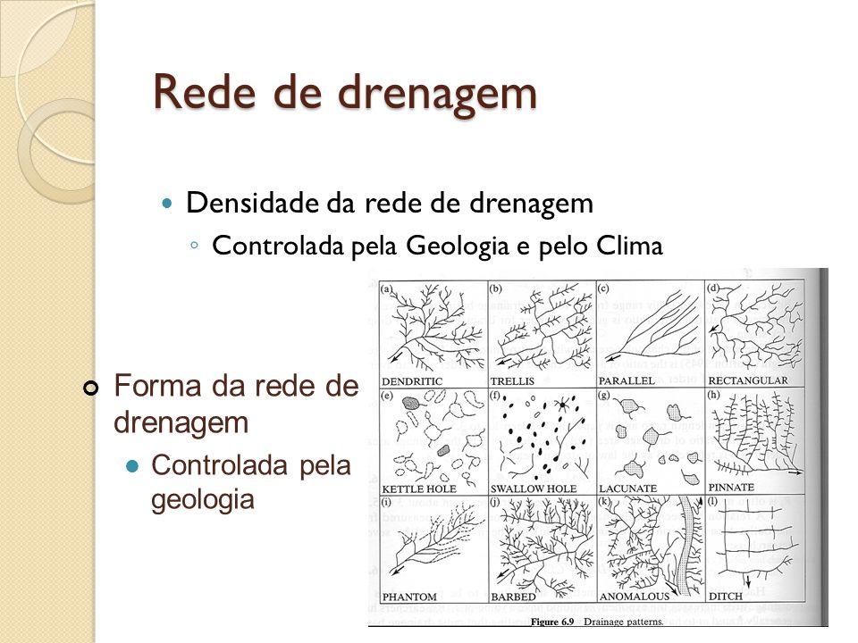 Rede de drenagem  Densidade da rede de drenagem ◦ Controlada pela Geologia e pelo Clima Forma da rede de drenagem  Controlada pela geologia