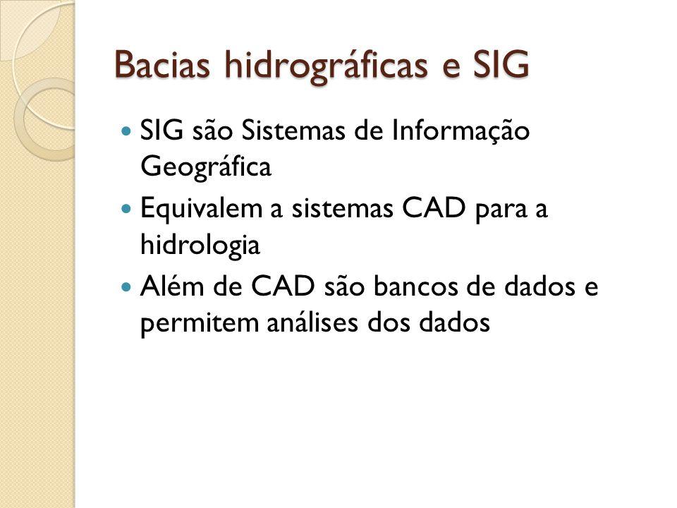 Bacias hidrográficas e SIG  SIG são Sistemas de Informação Geográfica  Equivalem a sistemas CAD para a hidrologia  Além de CAD são bancos de dados