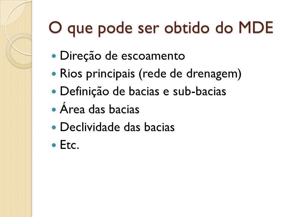 O que pode ser obtido do MDE  Direção de escoamento  Rios principais (rede de drenagem)  Definição de bacias e sub-bacias  Área das bacias  Decli
