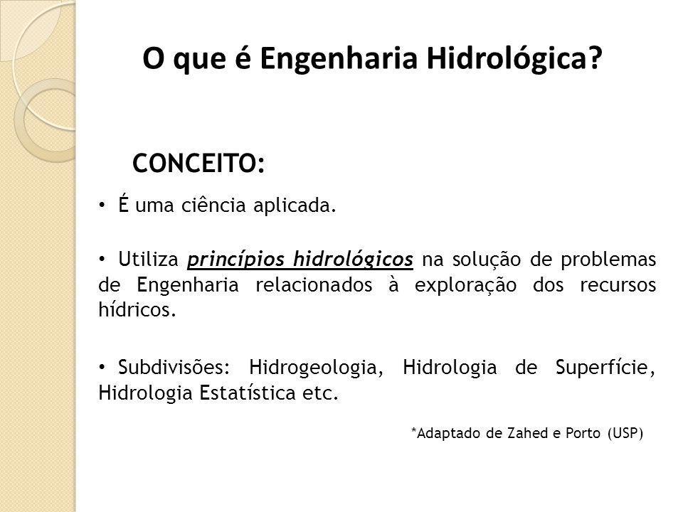 O que é Engenharia Hidrológica? CONCEITO: • Utiliza princípios hidrológicos na solução de problemas de Engenharia relacionados à exploração dos recurs