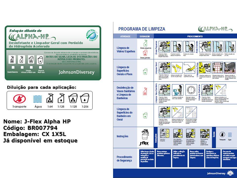Diluição para cada aplicação: TransporteÁgua1:641:128 1:256 Ferramentas de Venda Nome: J-Flex Alpha HP Código: BR007794 Embalagem: CX 1X5L Já disponív