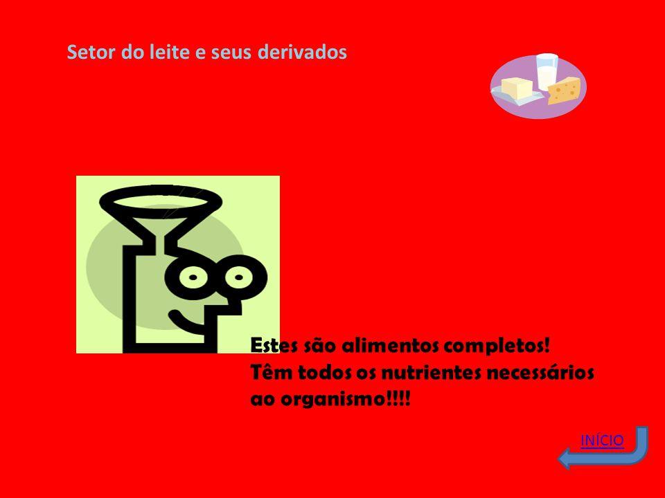 INÍCIO Setor do leite e seus derivados Estes são alimentos completos! Têm todos os nutrientes necessários ao organismo!!!!