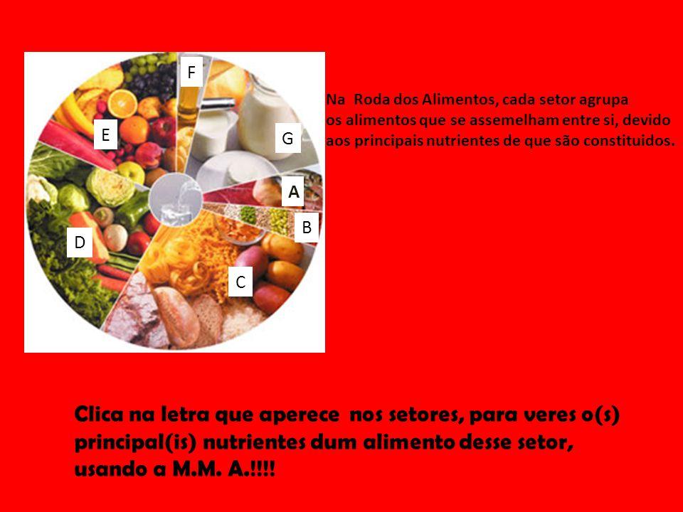 Na Roda dos Alimentos, cada setor agrupa os alimentos que se assemelham entre si, devido aos principais nutrientes de que são constituidos. Clica na l