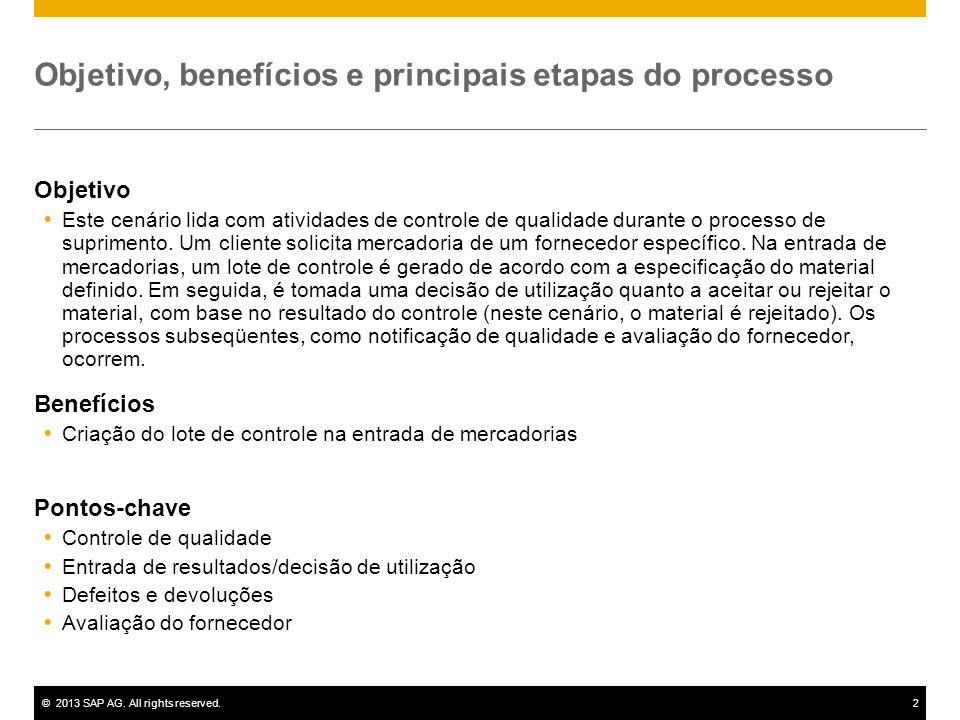 ©2013 SAP AG. All rights reserved.2 Objetivo, benefícios e principais etapas do processo Objetivo  Este cenário lida com atividades de controle de qu