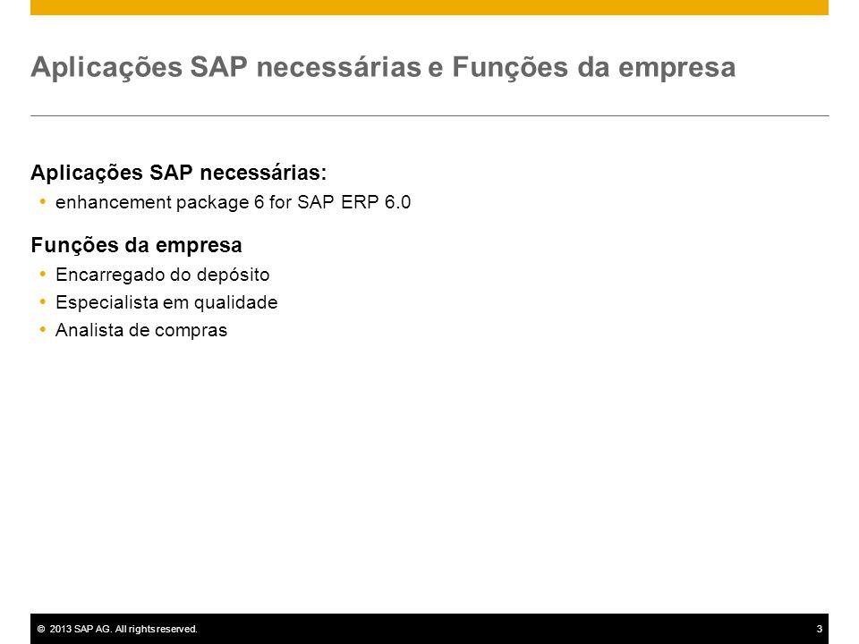 ©2013 SAP AG. All rights reserved.3 Aplicações SAP necessárias e Funções da empresa Aplicações SAP necessárias:  enhancement package 6 for SAP ERP 6.