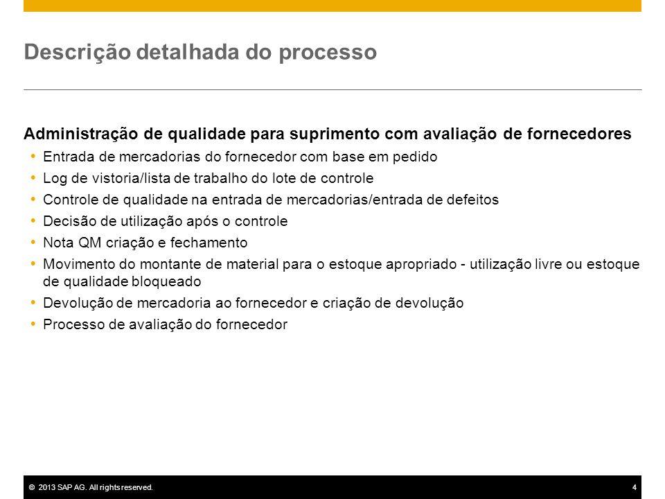 ©2013 SAP AG. All rights reserved.4 Descrição detalhada do processo Administração de qualidade para suprimento com avaliação de fornecedores  Entrada