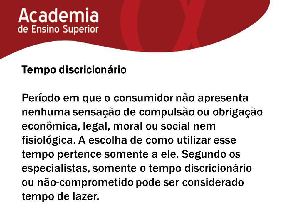 Tempo discricionário Período em que o consumidor não apresenta nenhuma sensação de compulsão ou obrigação econômica, legal, moral ou social nem fisiológica.