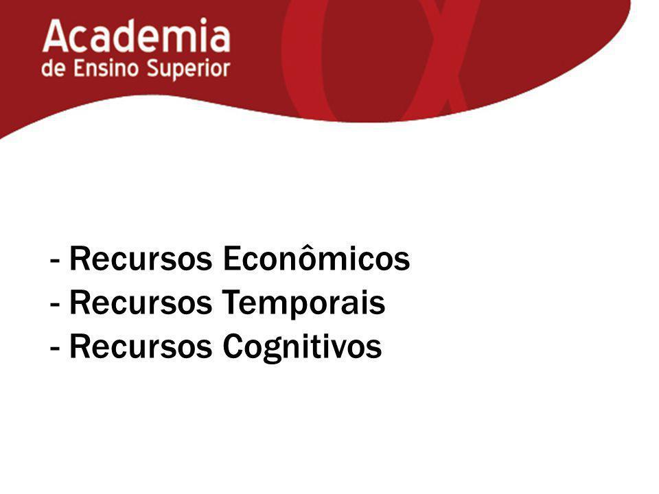- Recursos Econômicos - Recursos Temporais - Recursos Cognitivos