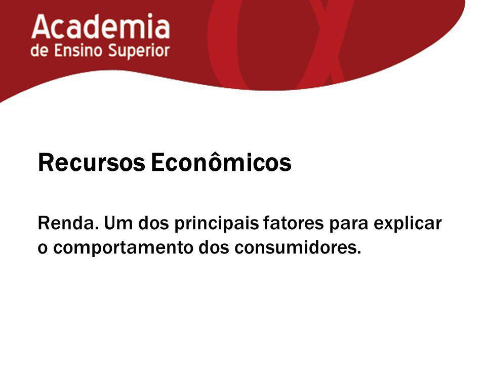 Recursos Econômicos Renda. Um dos principais fatores para explicar o comportamento dos consumidores.