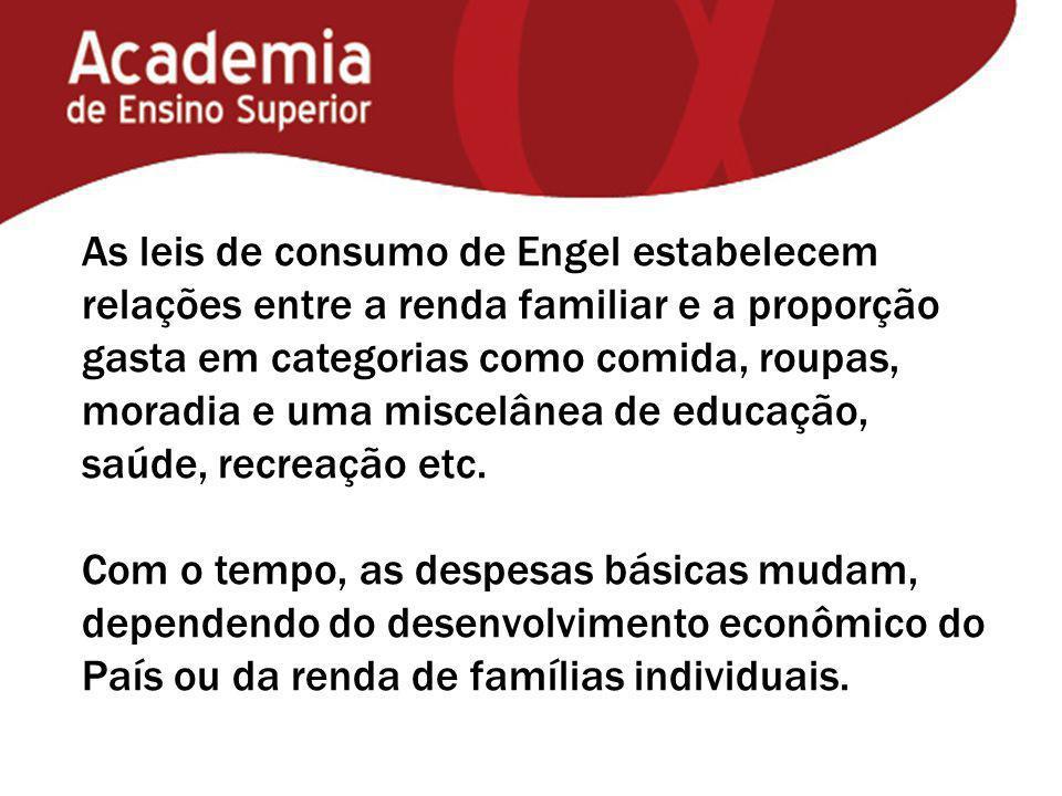 As leis de consumo de Engel estabelecem relações entre a renda familiar e a proporção gasta em categorias como comida, roupas, moradia e uma miscelânea de educação, saúde, recreação etc.