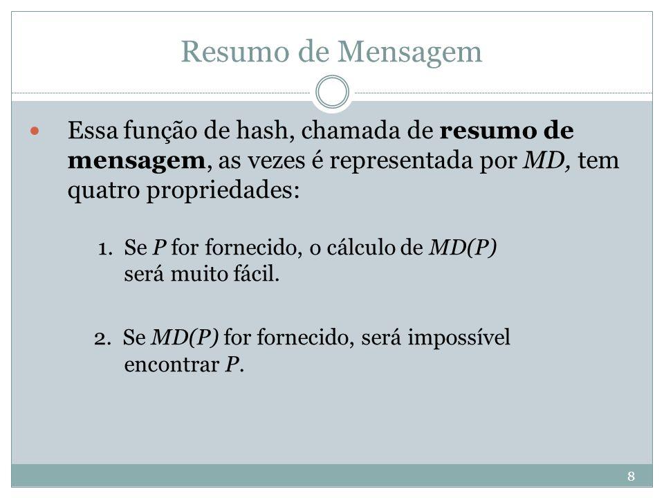 9 Resumo de Mensagem 3.Dado P, ninguém pode encontrar P' tal que MD(P') = MD(P).