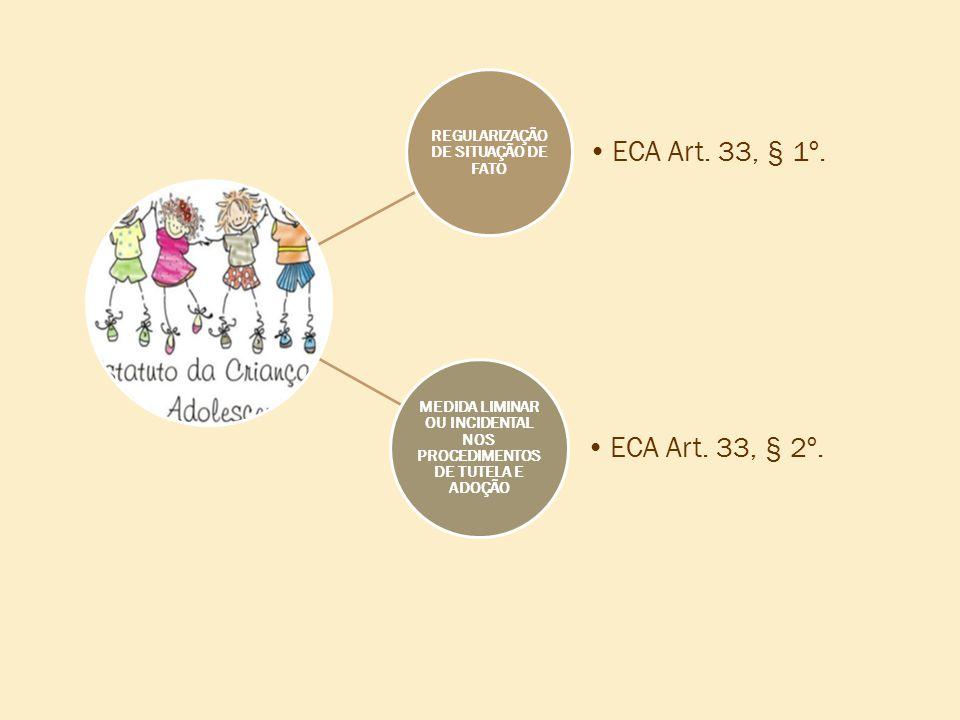 REGULARIZAÇÃO DE SITUAÇÃO DE FATO •ECA Art. 33, § 1º. MEDIDA LIMINAR OU INCIDENTAL NOS PROCEDIMENTOS DE TUTELA E ADOÇÃO •ECA Art. 33, § 2º.