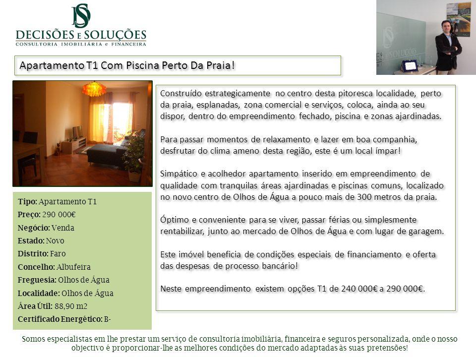 Inserir foto de apresentação Apartamento T1 Com Piscina Perto Da Praia.
