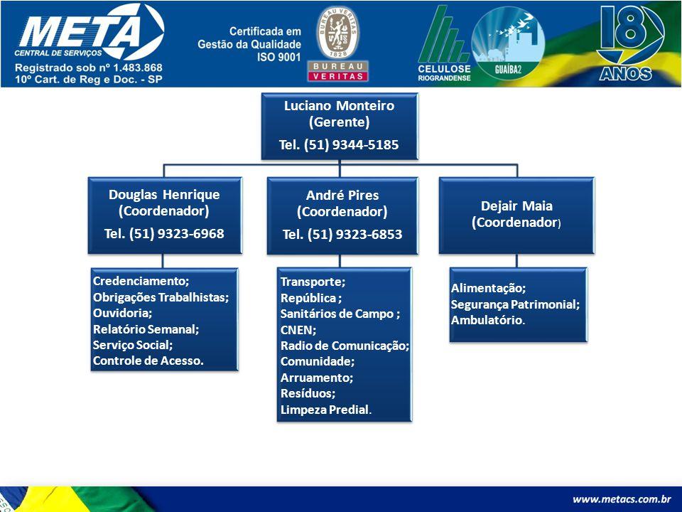 Luciano Monteiro (Gerente) Tel. (51) 9344-5185 Douglas Henrique (Coordenador) Tel. (51) 9323-6968 Credenciamento; Obrigações Trabalhistas; Ouvidoria;