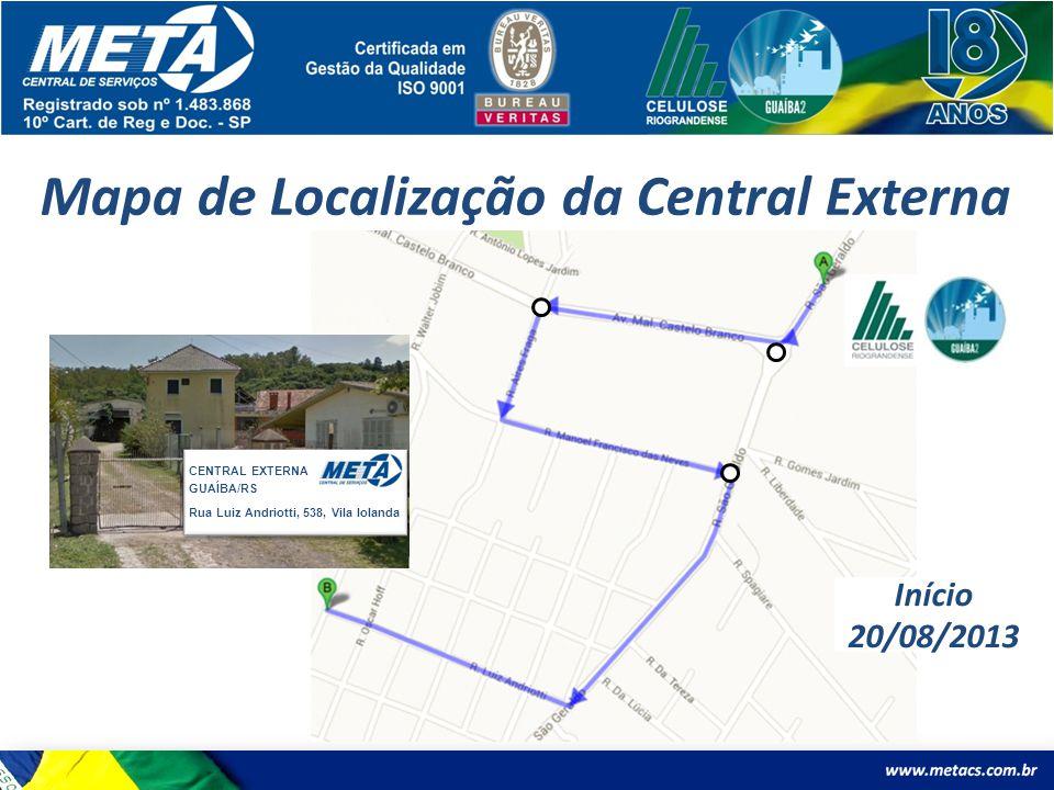 Mapa de Localização da Central Externa CENTRAL EXTERNA GUAÍBA/RS Rua Luiz Andriotti, 538, Vila Iolanda Início 20/08/2013