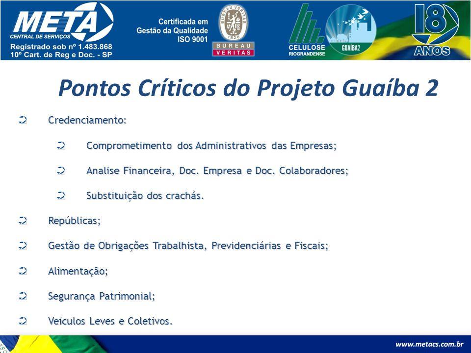 Pontos Críticos do Projeto Guaíba 2 Credenciamento: Comprometimento dos Administrativos das Empresas; Analise Financeira, Doc. Empresa e Doc. Colabora