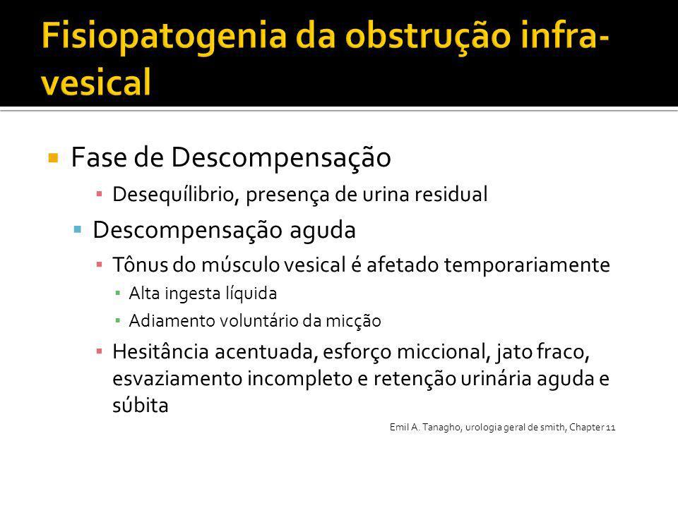  Fase de Descompensação ▪ Desequílibrio, presença de urina residual  Descompensação aguda ▪ Tônus do músculo vesical é afetado temporariamente ▪ Alt