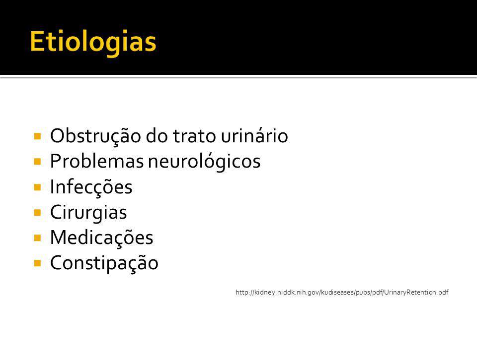  Obstrução do trato urinário  Problemas neurológicos  Infecções  Cirurgias  Medicações  Constipação http://kidney.niddk.nih.gov/kudiseases/pubs/