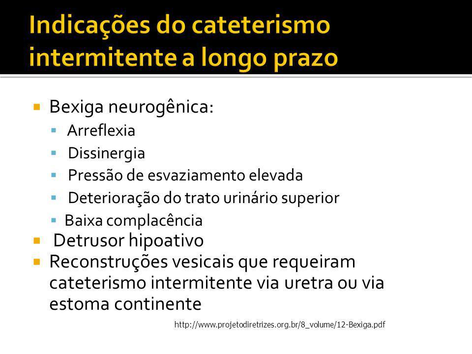  Bexiga neurogênica:  Arreflexia  Dissinergia  Pressão de esvaziamento elevada  Deterioração do trato urinário superior  Baixa complacência  De