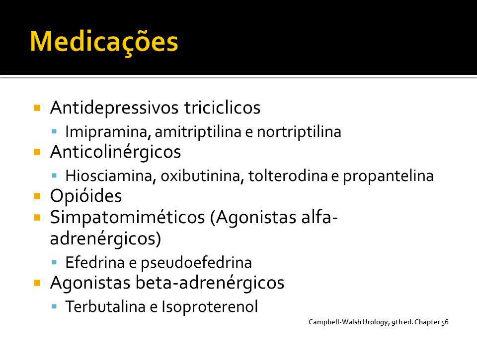  Antidepressivos triciclicos  Imipramina, amitriptilina e nortriptilina  Anticolinérgicos  Hiosciamina, oxibutinina, tolterodina e propantelina 