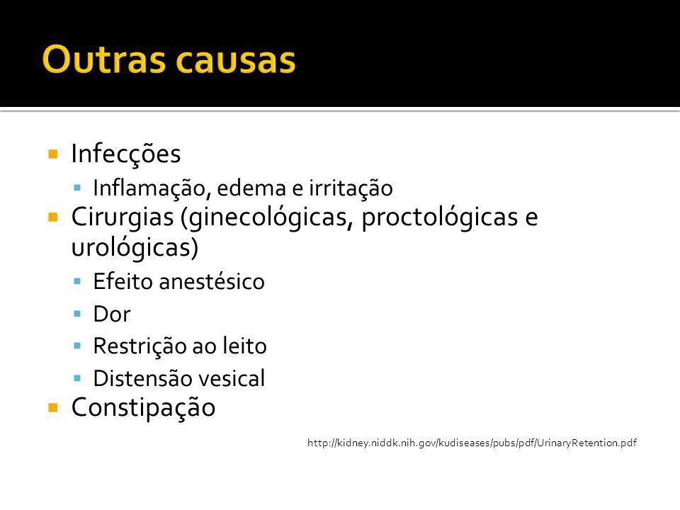  Infecções  Inflamação, edema e irritação  Cirurgias (ginecológicas, proctológicas e urológicas)  Efeito anestésico  Dor  Restrição ao leito  D