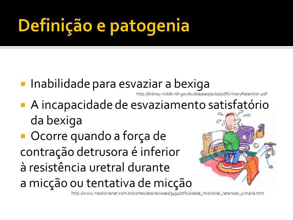  Retenção urinária pós-operatória:  Pós-cirurgias de suspensão vesical  Colporrafia anterior  Histerectomia  Cirurgias proctológicas orificiais  Cirurgias neurológicas  Ressecção abdomino-perineal  Retenção puerperal  Choque medular http://www.projetodiretrizes.org.br/8_volume/12-Bexiga.pdf