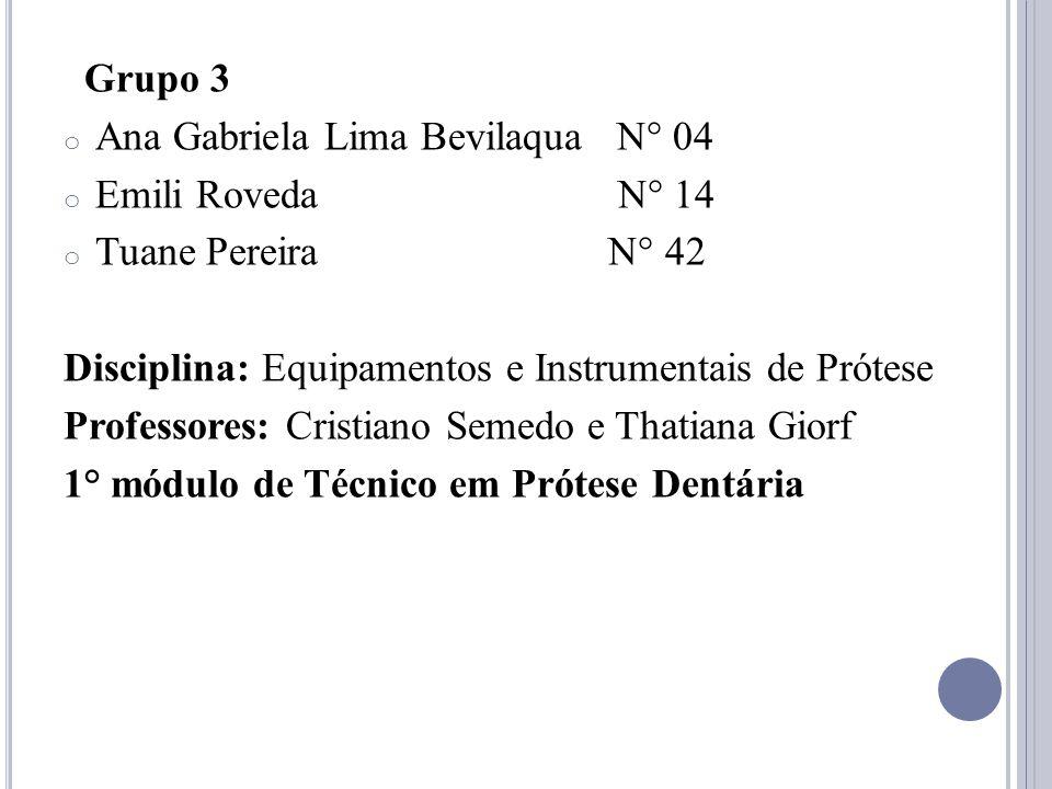 Grupo 3 o Ana Gabriela Lima Bevilaqua N° 04 o Emili Roveda N° 14 o Tuane Pereira N° 42 Disciplina: Equipamentos e Instrumentais de Prótese Professores