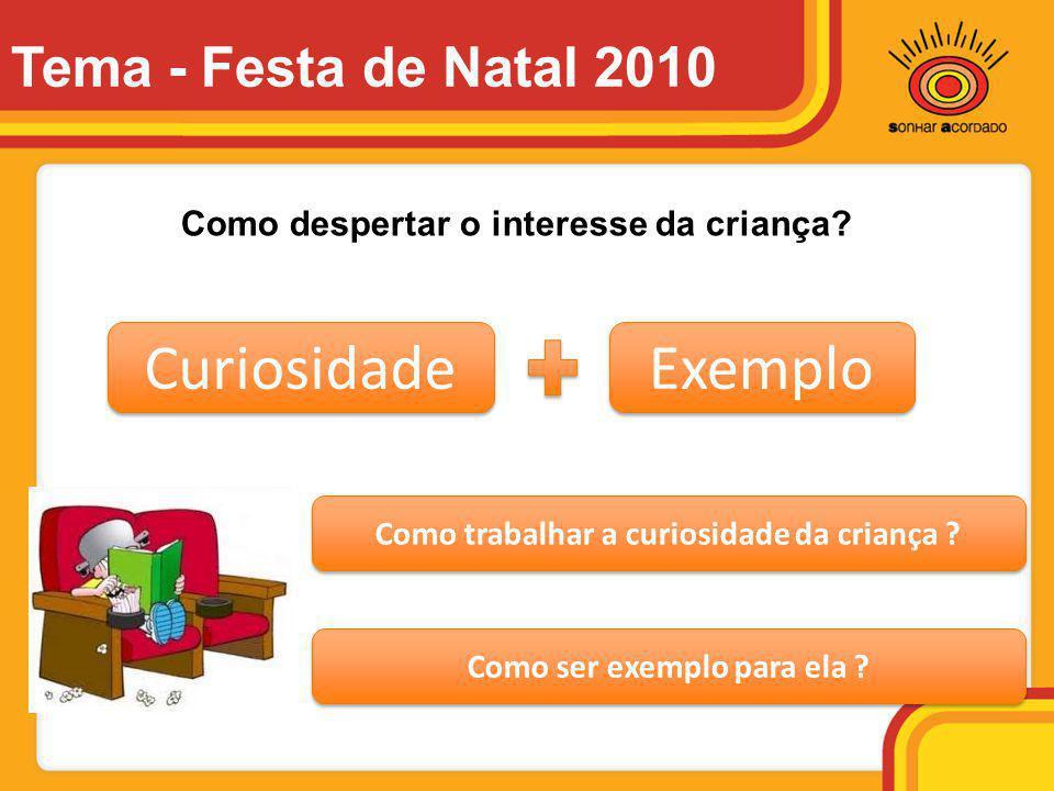 Curiosidade Exemplo Como trabalhar a curiosidade da criança ? Como ser exemplo para ela ? Como despertar o interesse da criança? Tema - Festa de Natal