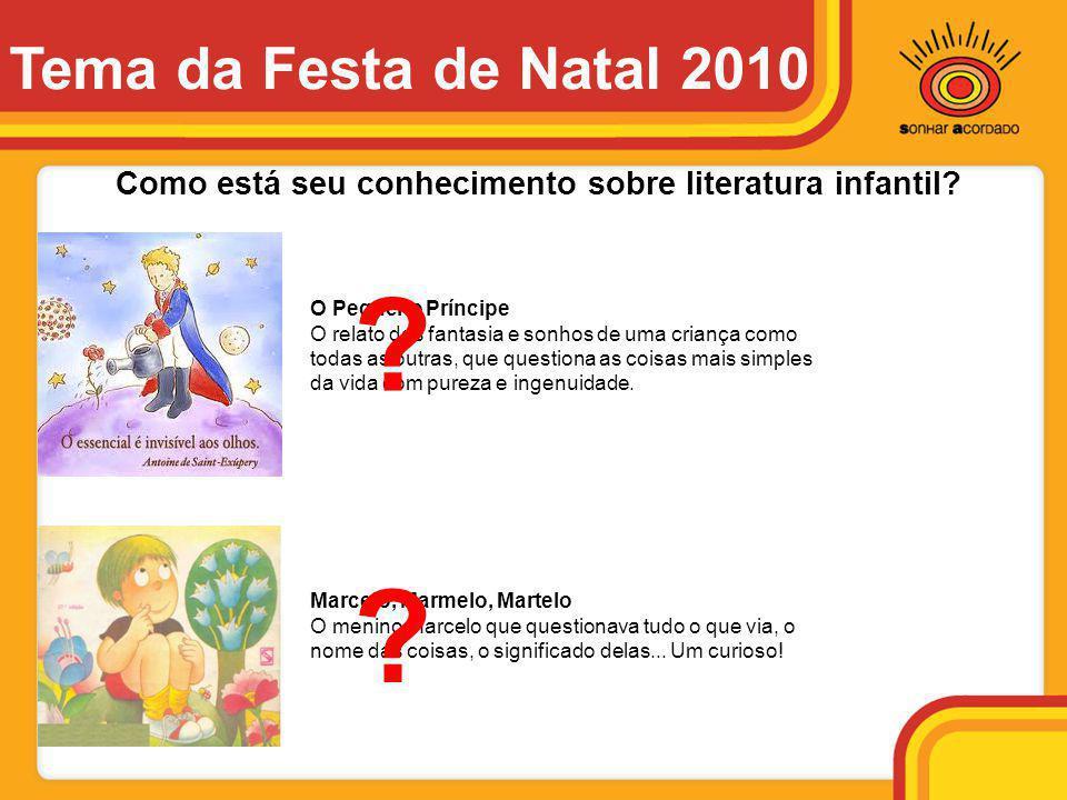 Como está seu conhecimento sobre literatura infantil? O Pequeno Príncipe O relato das fantasia e sonhos de uma criança como todas as outras, que quest