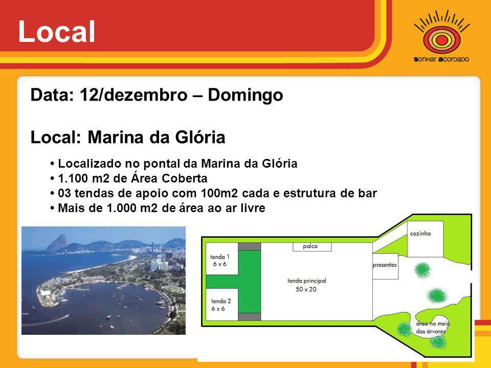 Local Data: 12/dezembro – Domingo Local: Marina da Glória • Localizado no pontal da Marina da Glória • 1.100 m2 de Área Coberta • 03 tendas de apoio c