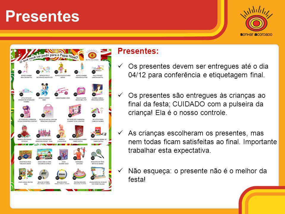 Presentes:  Os presentes devem ser entregues até o dia 04/12 para conferência e etiquetagem final.  Os presentes são entregues às crianças ao final