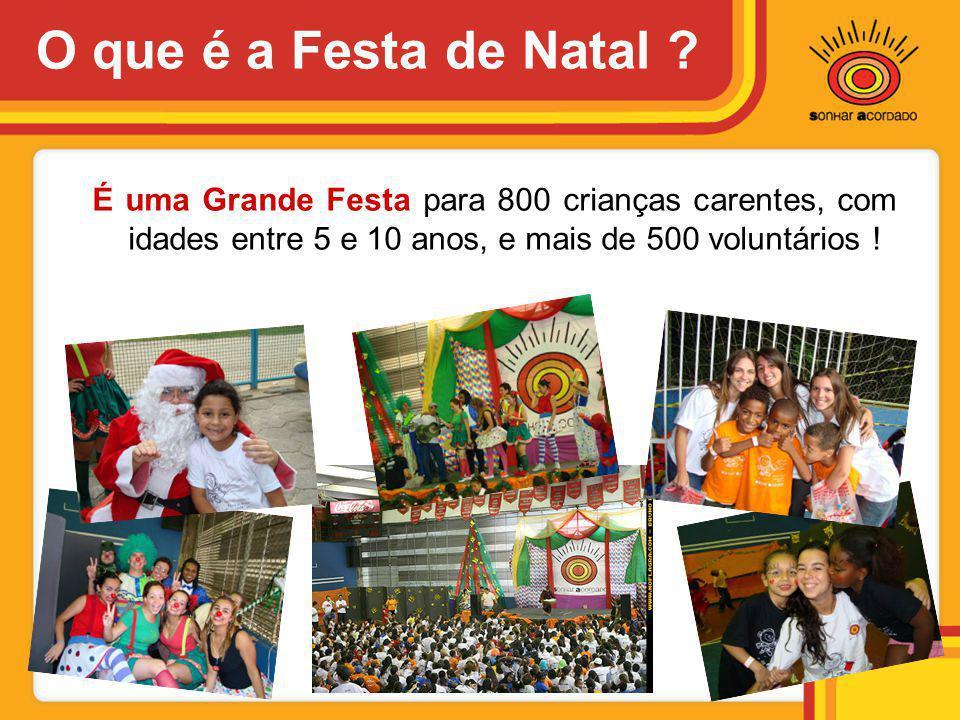 O que é a Festa de Natal ? É uma Grande Festa para 800 crianças carentes, com idades entre 5 e 10 anos, e mais de 500 voluntários !
